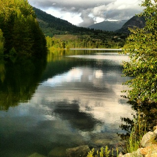 Castlegar, BC.  Where my heroine visits her grandfather and great aunt.  We went camping here one year, and I just loved it.  Small town, beautiful surroundings.