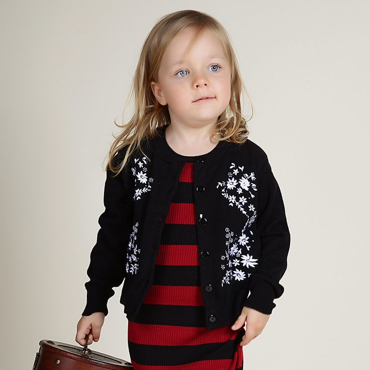 Fashion Spring Autumn Daisy Knitted Sweater Full Black Toddler Cardigan Family Matching Outfits