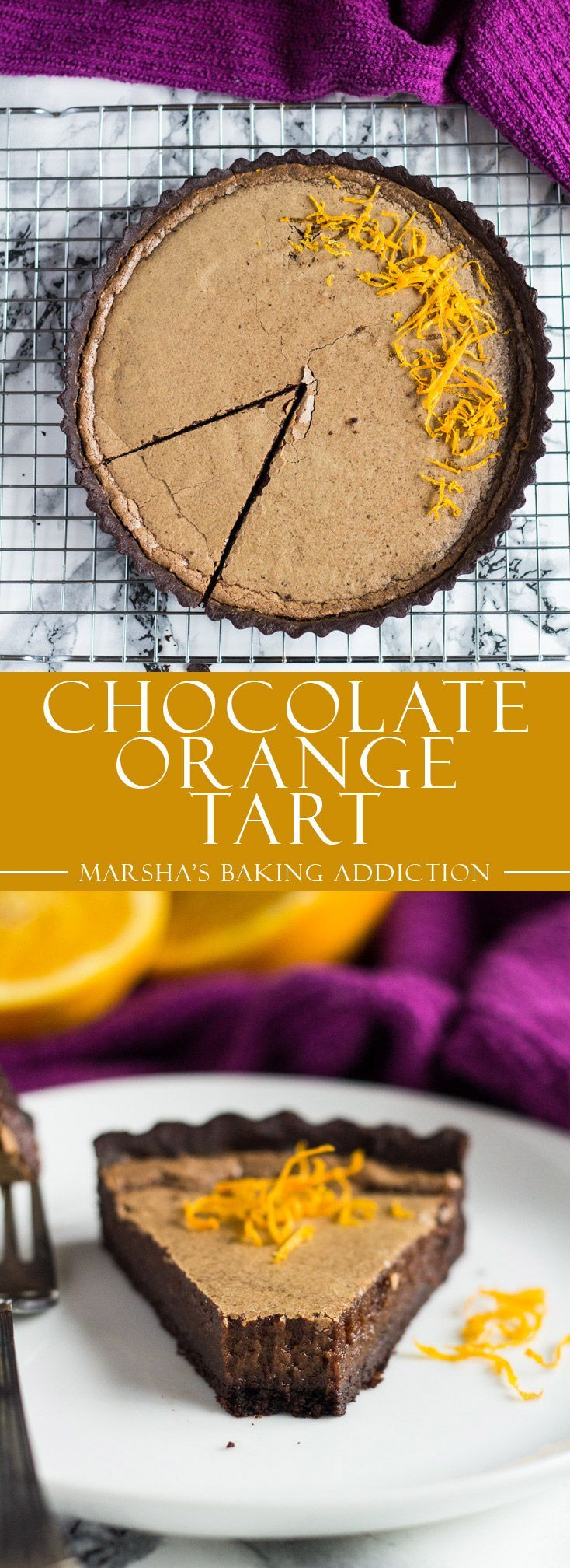 Dark Chocolate Orange Tart | http://marshasbakingaddiction.com /marshasbakeblog/