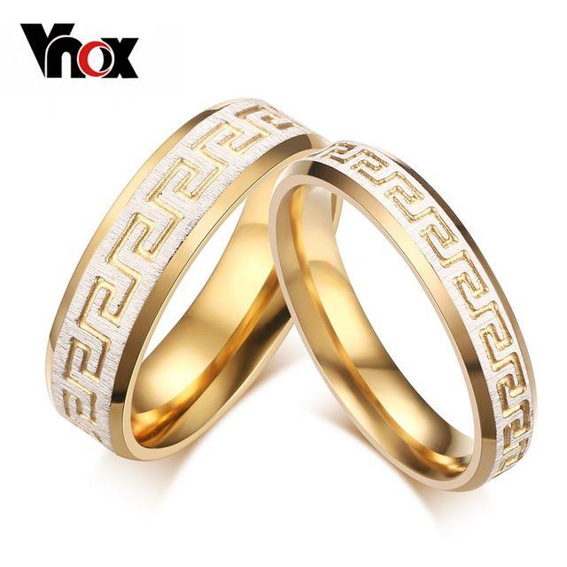 Vnox Модный Обручальное Кольцо для Любовника Греческий Ключ Шаблон 18 К Позолоченный Обещание Обручальное Кольцо