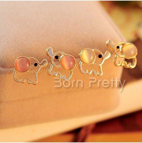 $0.99 Cute Elephant Shaped Earrings Shiny Opal Studded Pierced Earrings 1Pair - BornPrettyStore.com