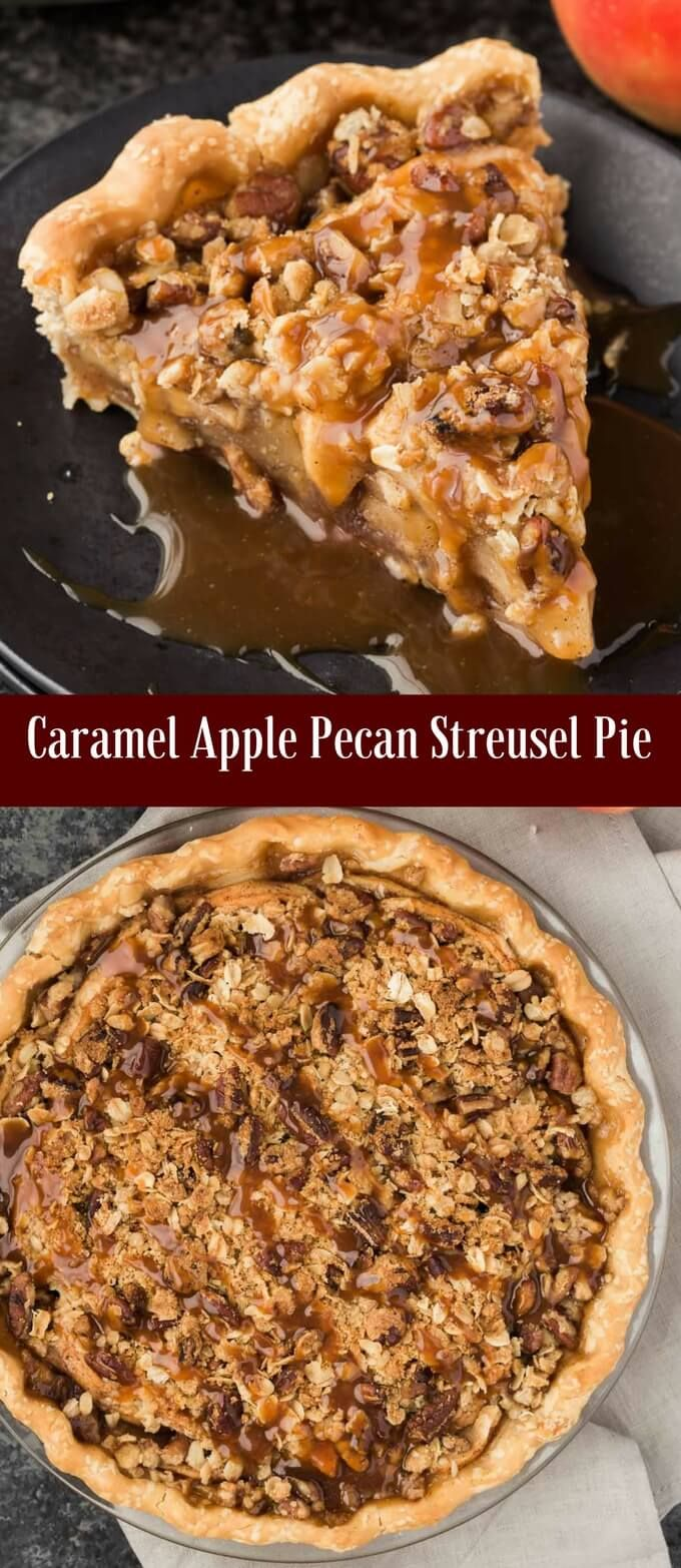 A caramel apple pecan streusel pie that tastes as good as it looks! via @introvertbaker