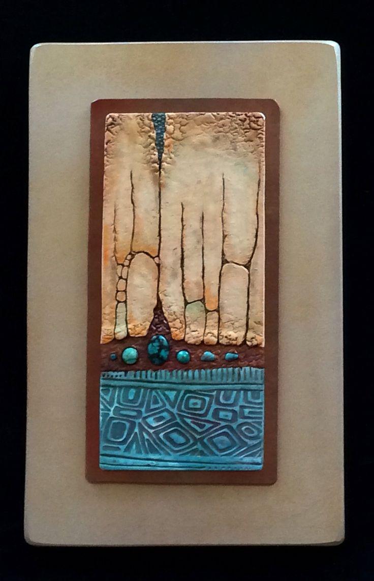 """Polymer clay wall art by Karen Brueggemann. Bottom section uses Pixie Art Stamps """"Mini Bar Blues"""""""