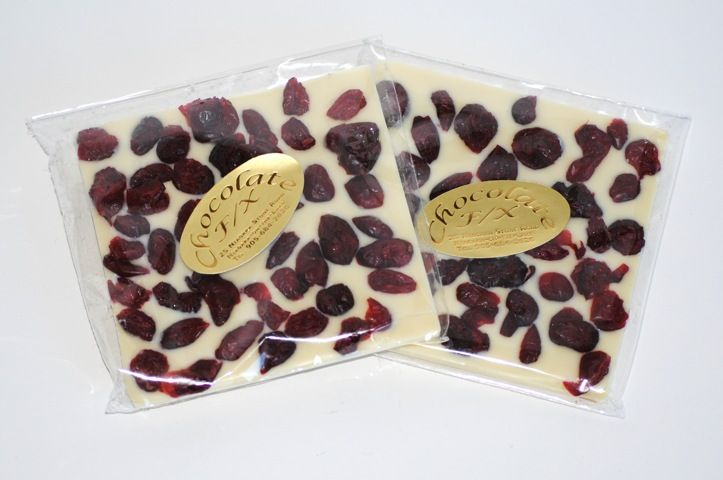White Cranberry Tiles - $3.25 - Premium white chocolate topped with fresh cranberries