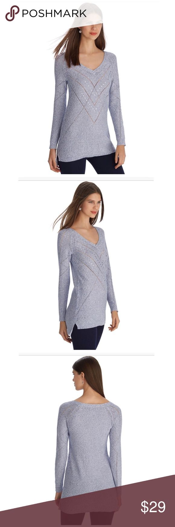 WHBM Blue V-Neck Raglan Sleeve Tunic Pullover Size large. White House Black Market. V-neckline creates a sleek foundation for flattering open weave designs to intersect down & across this tunic sweater pullover with etched silver tone studded details. Stretch fit. High-low hem with side splits. Cotton, viscose, polyester, metallic. EUC $98 White House Black Market Sweaters V-Necks