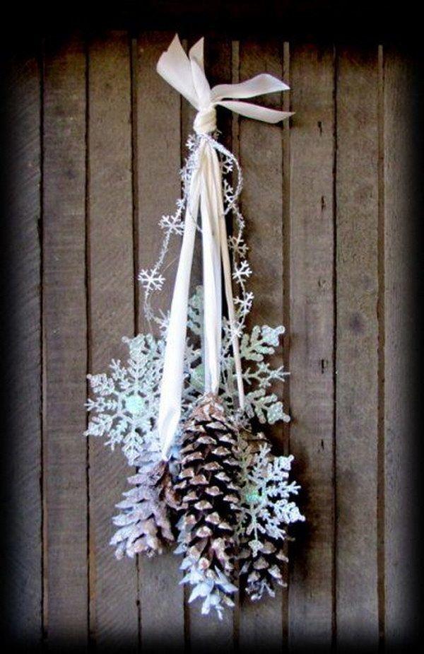 Pinecones and Snowflakes Winter Door Hanging