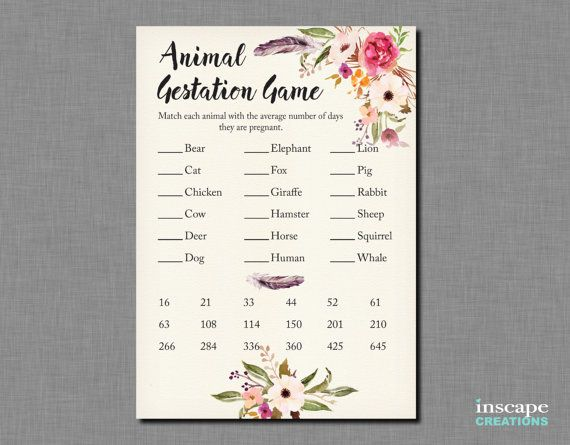 Our Animal Gestation Period Game…  Design: Beautiful Boho Floral and Feather watercolor Wreath design with lettering in a brush font. Light shading of the edges of the ivory textured background lends it a subtle vignette effect.  A fun game to have at a baby shower. Guests match the 18 animals with their gestation periods. An answer key is included.  If you want to customize/change any text, please see the Customization section below.  SPECS ----------------------------------------------...
