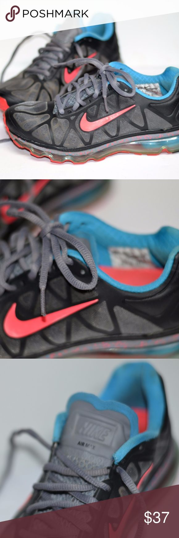 Nike Air-Max Neon Black 7.5 NIKE AIR MAX 2011 Black/Blue Glow-Cool Grey-Solar Red . women's 7.5 Nike Shoes Athletic Shoes