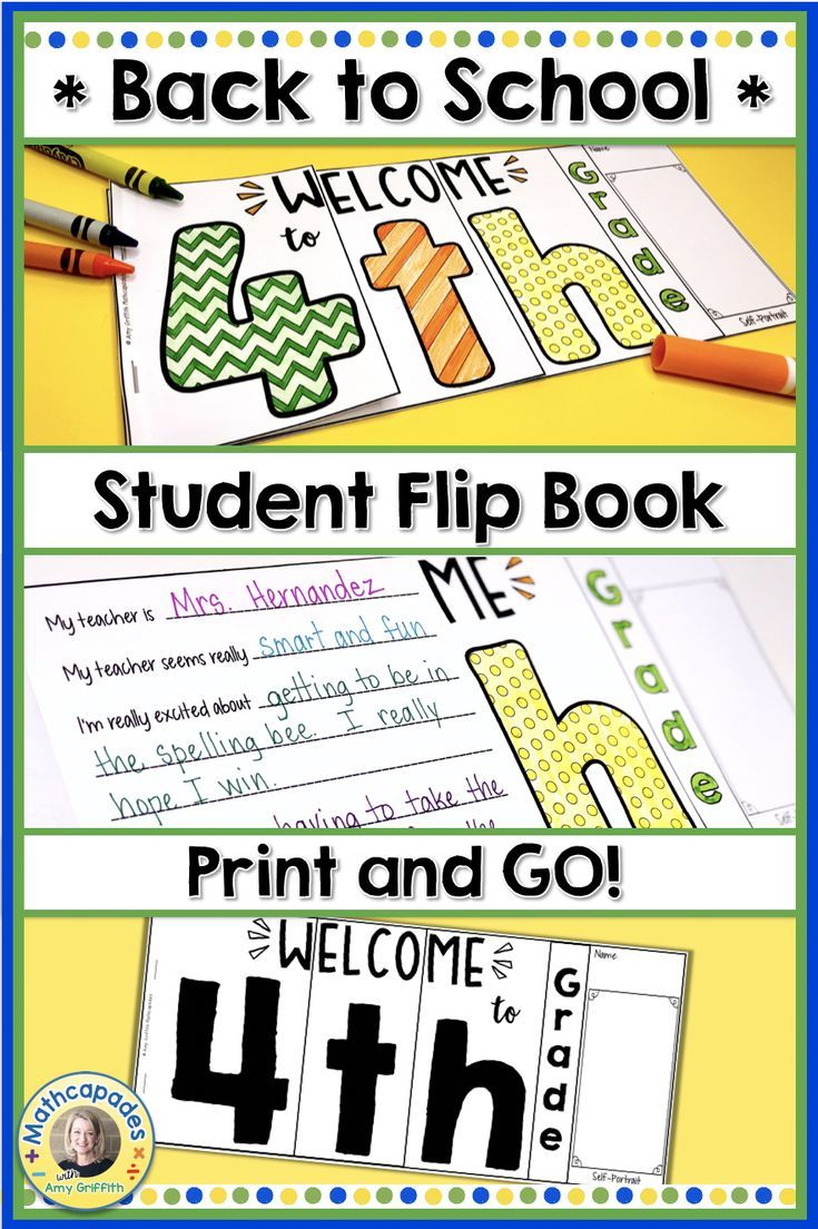 hight resolution of Welcome your 4th grade students back to school with this colorful student  f…   First day of school activities