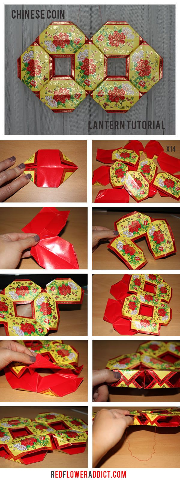 Chinese New Year Coin Lantern DIY Tutorial. Made of Red