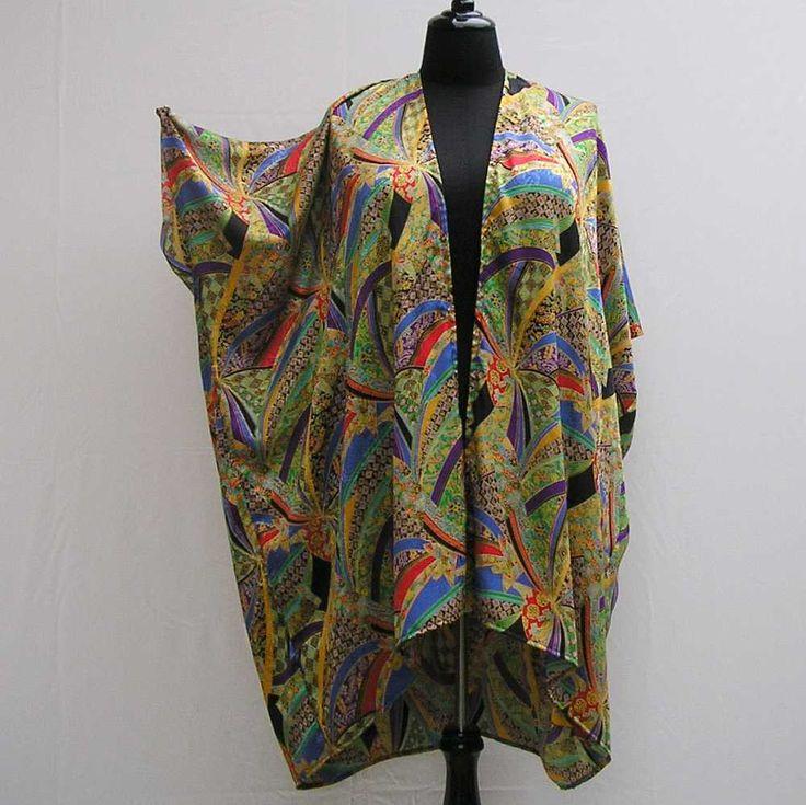 Gold green Kimono, plus size kimono, boho kimono, 1x 2x 3x 4x 5x 6x kimono, plus size dressing gown, plus size robe, asian design  cover up by Rethreading on Etsy