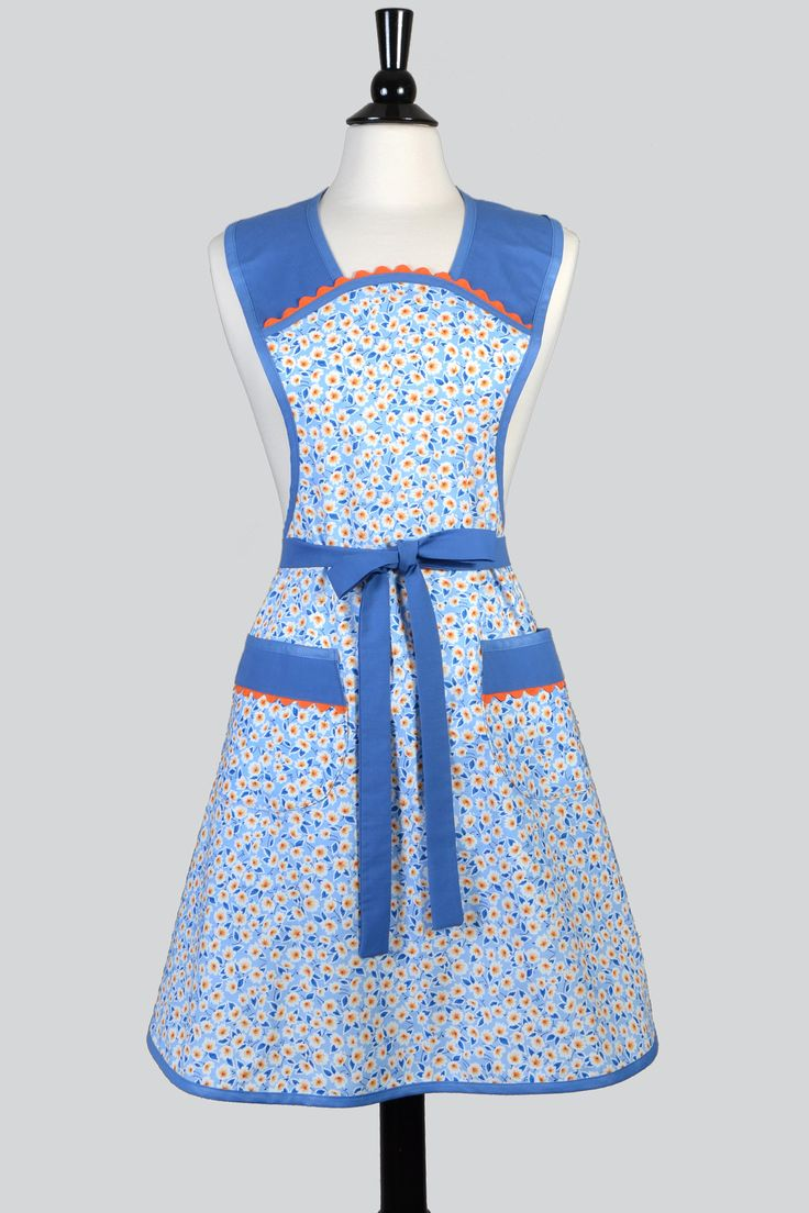 White chef apron target - Retro Women S 1950 S Styled Vintage Inspired Kitchen Chef Apron In Blue And Yellow Old Fashioned Apron Plus And One Size Fits Most