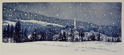 Mabou Under Snow by Anna W. Syperek of Antigonish | 2 Plate Etching and Aquatint 9.75in x 23.75in