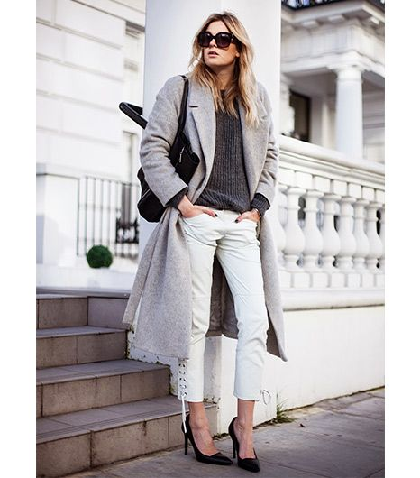 Camille Charrière of Camille Over The Rainbow White Jeans + Oversized Coat