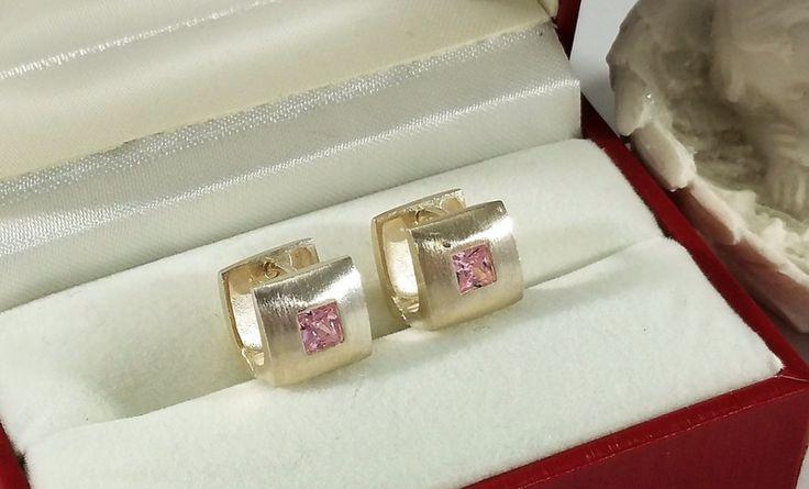 Vintage Ohrhänger - Ohrringe Klapp Creolen Silber 925 Kristall OR352 - ein Designerstück von Atelier-Regina bei DaWanda
