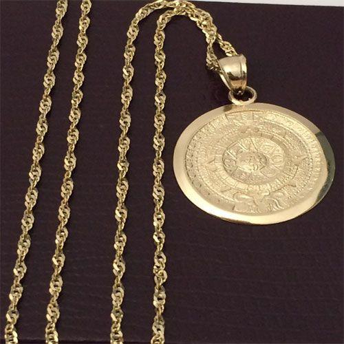4b66780bd Religious 14k yellow Gold Aztec Calendar Charm Pendant Singapore Chain  18inch by RG&D