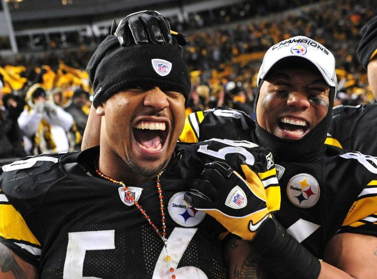 Pittsburgh Steelers' linebacker LaMarr Woodley (56) celebrates with teammate wide receiver Hines Ward after the Steelers defeated the New York Jets 24-19 winning the AFC Championship at Heinz Field in Pittsburgh, Pennsylvania on January 23, 2011. The Steelers will face the Green Bay Packers in Super Bowl XLV.  UPI/Kevin Dietsch