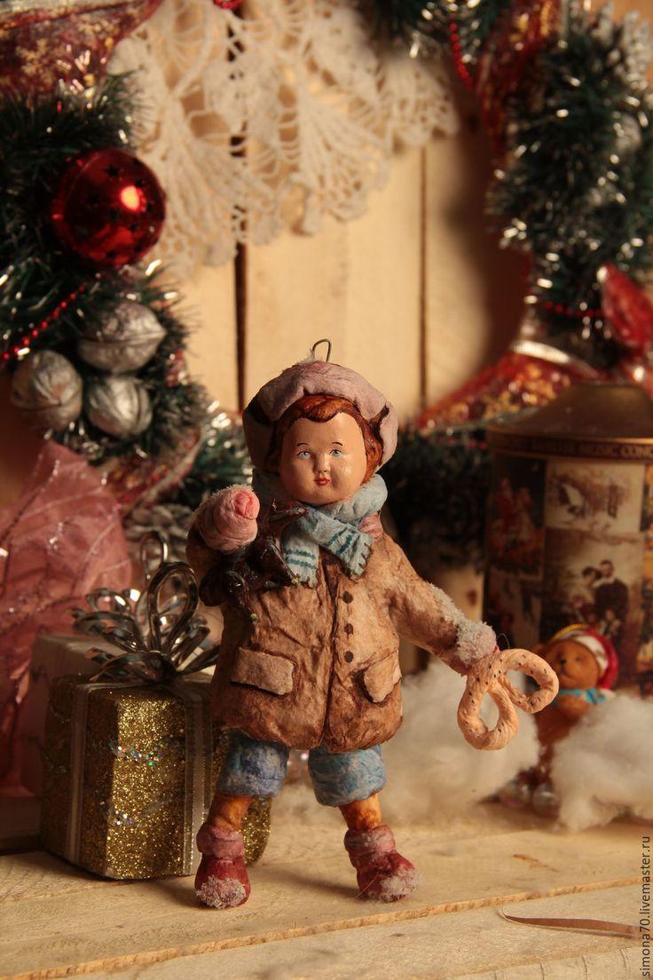 """Купить Бронь для Ирины Ватная игрушка """" Мальчик с лошадкой"""" - ватная елочная игрушка, винтажный"""