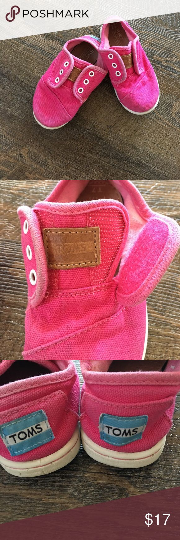 Tiny Toms Paseo Sneakers These Tiny Toms Paseo sneakers a such a cute color. They are in great condition. They have a Velcro opening, making it easy for toddlers to slip on and off. Toms Shoes Sneakers