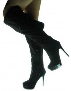 Stivali Sexy alti con Tacchi a Spillo e Plateau Pelle Nero