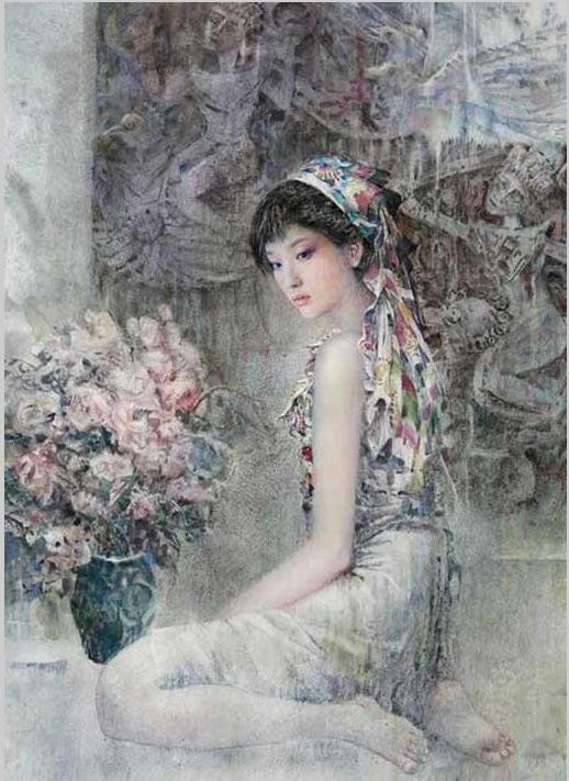 Girl Wearing Flower Scarf, Paint on paper by Chen Chongping.  For more information, please check out: www.cwgalleries.com or fan us at: www.facebook.com/ContemporaryChineseArt