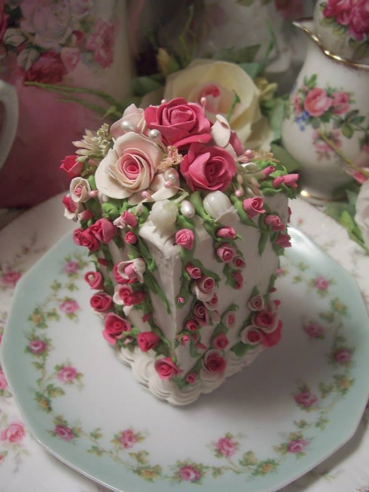Rosy block cake - much too beautiful to cut into. I would put it under a glass cloche instead.