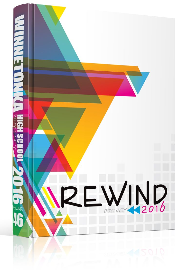 yearbook cover winnetonka high school rewind theme angles triangles
