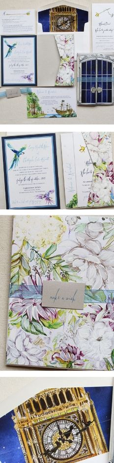 Peter Pan inspired wedding invite suite takes guests into a glimpse of Never Never land!  #momentaldesigns #kristyrice  #peterpanwedding  #handpaintedinvite  #neverneverlandwedding  #floralinvite