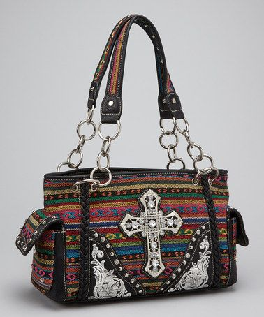 Take a look at this Black Southwestern Cross Shoulder Bag by Rhinestone Junkie on #zulily today!