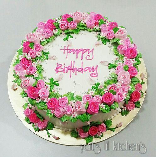 Buttercream ribbon roses cake