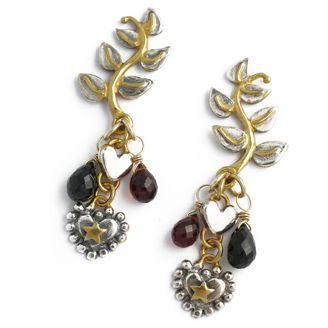 Sophie Harley London James Bond 007 leaf earrings with hearts & garnet briolette stones designed for Casino Royale movie. Silver & 22ct gold plate.