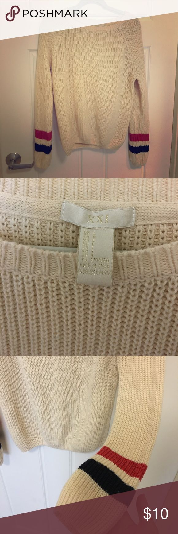 Forever 21 Knitted Sweater Large, cream color sweater with blue and red stripe accentuations on the sleeves. Knitted material, great for casual outfit or can dress it up for business casual. Forever 21 Sweaters