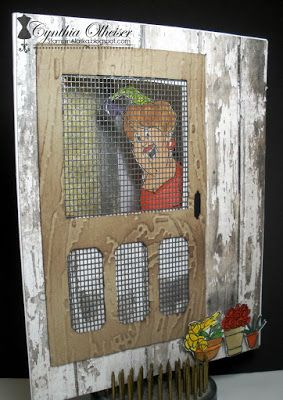 Art Impressions Ai Fronts and Backs ....Eat Itself Set (Sku#4567) handmade screen door card. (front of card)