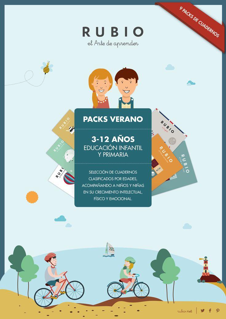 Packs de cuadernos multitareas para repasar este verano. Clasificados según edad y curso escolar. Envío gratuito. Web | http://cuadernos.rubio.net/packs