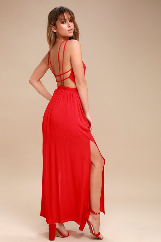 Lulus Exclusive! We've got an adventure dreamed up, and it starts and ends with the Lost in Paradise Red Maxi Dress! A surplice bodice with a plunging V-neckline meets a strappy, open back and an elastic waistband. Lightweight woven maxi skirt has sexy slits along each side.