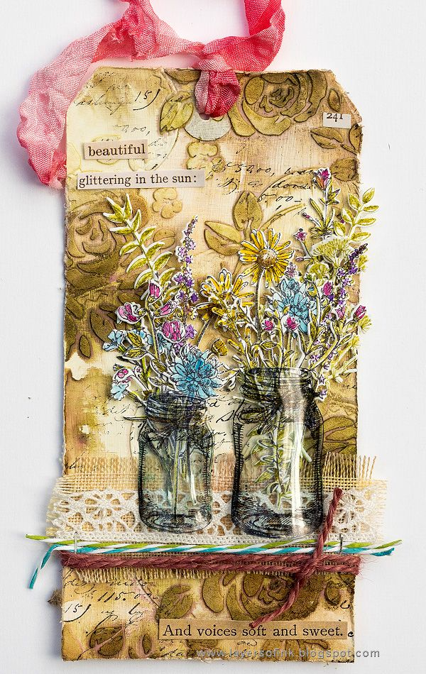 Layers of ink - Wildflower Mason Jar Tutorial by Anna-Karin, made with Tim Holtz Sizzix Flower Jar dies, and Flower Jar stamps by Stamper's Anonymous. Inks, paints and media by Ranger Ink.