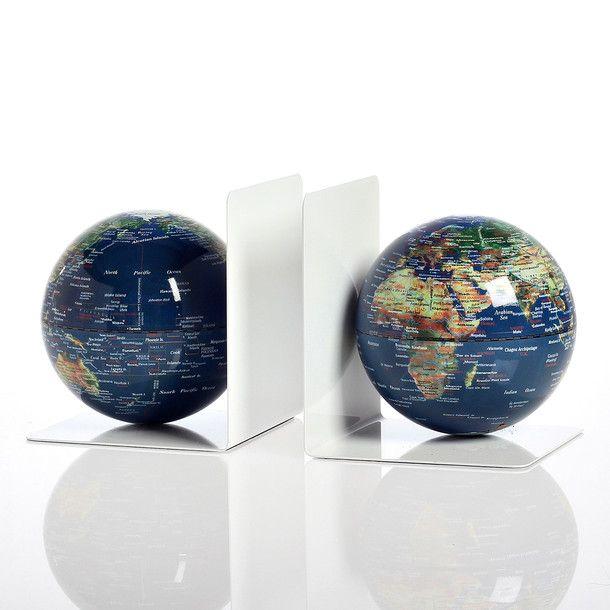 Magnet Bookends Globe Blue