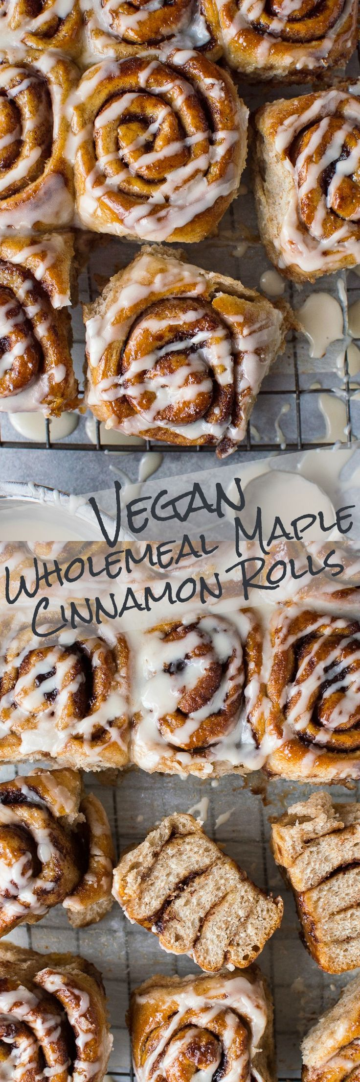 vegan wholemeal maple cinnamon rolls - incredibly good cinnamon buns flavoured with maple syrup that just so happen to be vegan too! #vegan #baking #cinnamonrolls