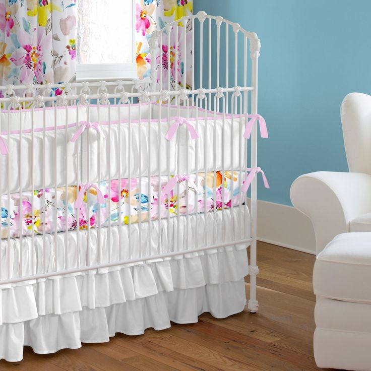 Watercolor Floral Crib Bedding by Carousel Designs.