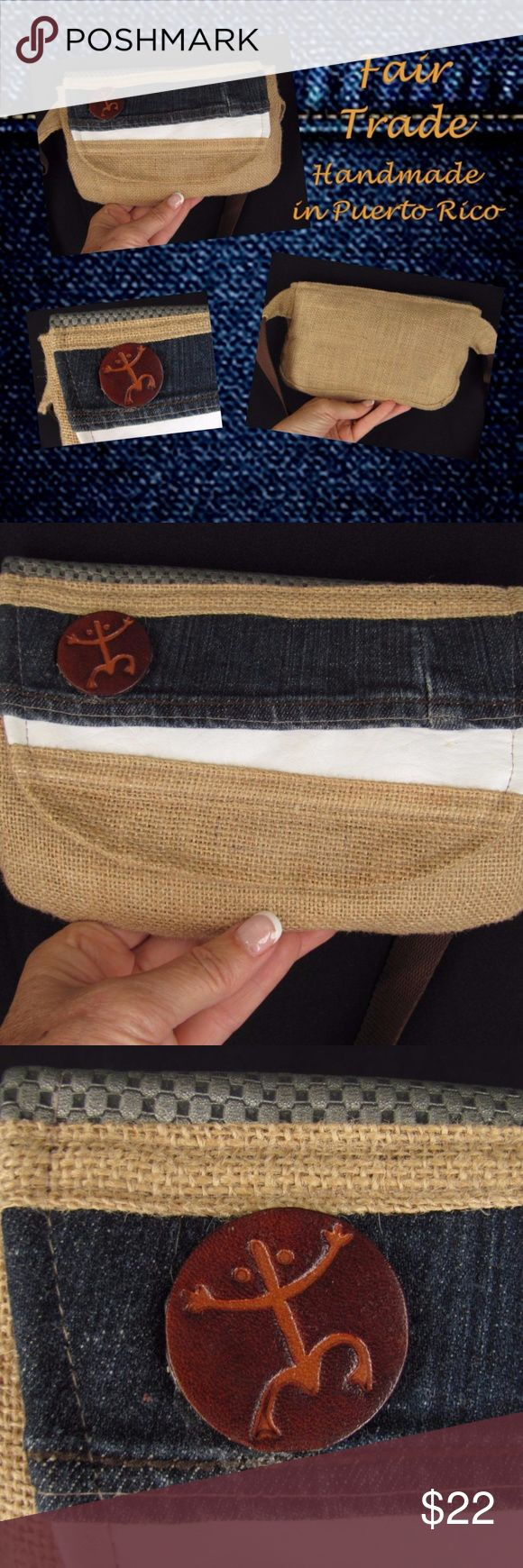 "Denim Burlap Leather FAIR TRADE Handcrafted Purse Cute and functional one of a kind waist pack (fanny pack) purse. Handmade in Puerto Rico by a craftswoman! This textile purse is made of burlap, leather and denim and is fully lined. The flap closure is secured with velcro. Inside is 1 open top pocket. It has an adjustable web belt with quick release buckle. New.  9 1/4"" long x 6"" high x 1"" deep  10x14 170628-1000-Purses Handcrafted Bags Travel Bags"