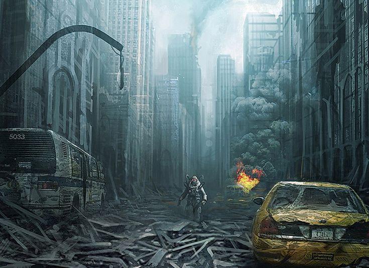 Apocalypse: Art   Art, conceptual, conceptual art apocalypse, post apocalypse, dark, smoke, dreary, abandoned, city, cityscape, end