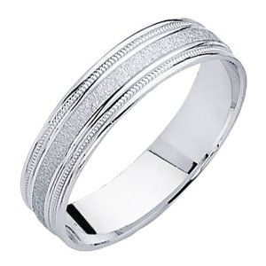 Amazon.com: 14K White Gold Satin Milgrain Wedding Band Ring for Men & Women: The World Jewelry Center: Jewelry