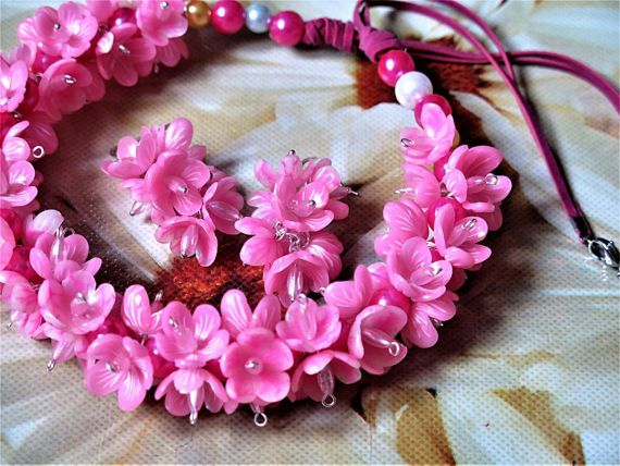 Pink mood set polymer clay decoration handmade by StudioHopeRU