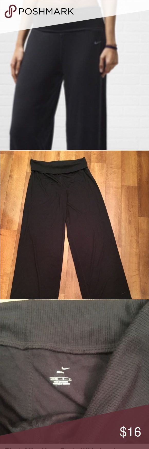 Nike Wide Leg Yoga Pants L Similar to the 1st photo these pants are wide legged with a fold over waist band size large like new mark to inside label 🚫no trades🚫 Pants