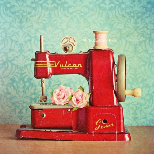 Beautiful vintage red sewing machine