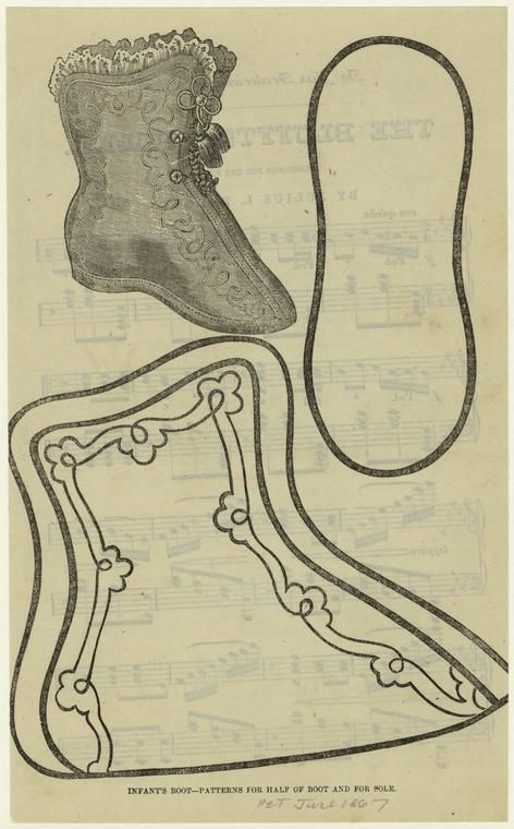Infant's boot : patterns for half of boot and for sole. (1867)