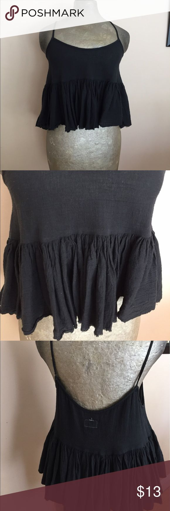 Hipster Crop Top urban outfitters Pre- owned with no major signs of wear. Swing tank top . Ruffles. Loose. Size fits S-M. Please feel free to contact me for more detailed information 🌻 Urban Outfitters Tops Camisoles