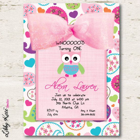 Owl Birthday Invitation Girl First Birthday by LibbyKateSmiles