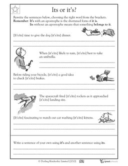 Worksheets Fourth Grade Language Arts Worksheets 1000 images about english and grammar worksheets on pinterest its with an apostrophe is the abbreviation for it without indicates possession in this language arts workshee