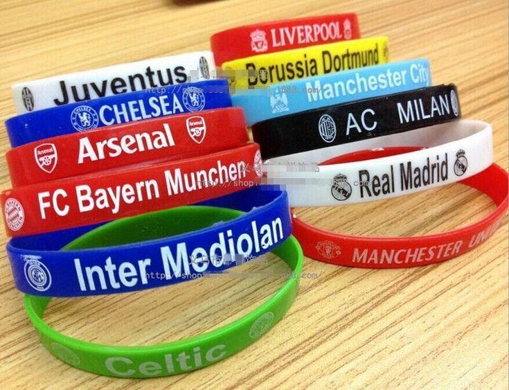 100Pcs Silicone Rubber Wristband Barcelona Chelsea Football Team Design Bracelet